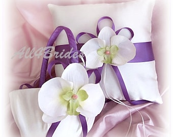 Weddings ring pillow and flower girl basket, wisteria wedding color and white orchids ceremony accessories