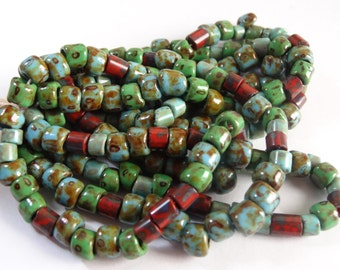 Turquoise Opaque Picasso Crow and Red Tile Bead Mix  3 Strands