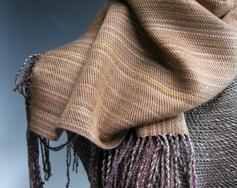 Handwoven Silk and Wool Scarf: Spiced Caramel Cider