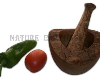 Saint Patrick gift, Easter gift, Olive wood rustic mortar and pestle 3,94 - 4.72 - 5.5 Inches