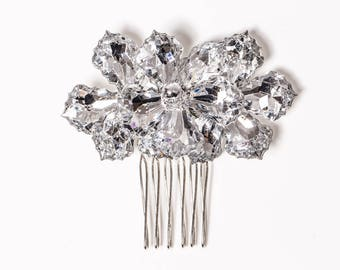 "Hair Comb - 2.5"" Silver Flower Hair Accessory, Silver Comb, Sparkling Flower Comb for Weddings and Prom - Wedding Hair, Prom Hair"