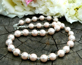 Pearl bib necklace Bridal jewelry pearl Statement necklace Pink jewelry Gift for mother of the bride Bridal Necklace Chunky Pearls Necklace