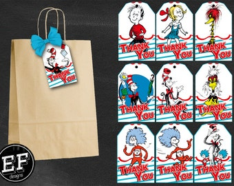 20 Dr Seuss Thank you, Dr Seuss Birthday Favor Tags, Dr Seuss Party Tags, Dr Seuss Favor Tag, Dr Seuss Labels Tag, Cat in the Hat
