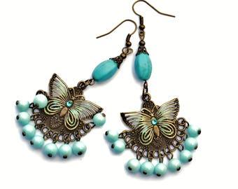 Turquoise Blue Butterfly Boho Dangle Bead Earrings Funky Hippie Jewelry FREE SHIPPING