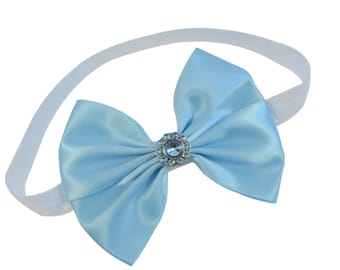 Cinderella Inspired Sparkling Glitter Bow Elastic Costume Headband for Babies and Toddlers - 2 Sizes Available