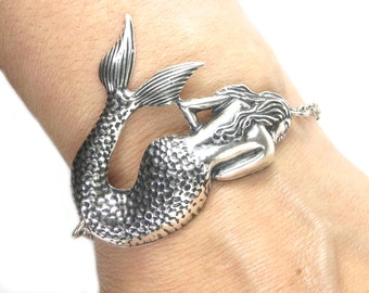 Mermaid Bracelet Large Mermaid Sterling Silver Ox Finish