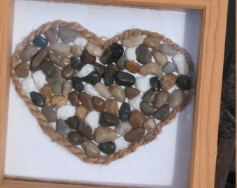 Framed heart with pebbles