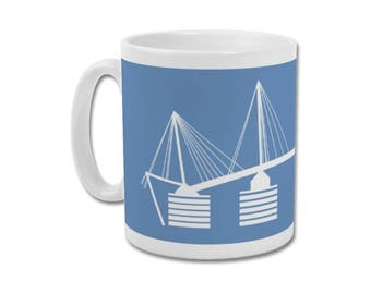 "Manchester City Minimalist Graphic Design Mug - Etihad Stadium ""Eastlands Approach"""
