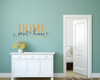 Home Sweet Home Wall Decal Vinyl Lettering - Gold Wall Decal - Family Vinyl Wall Decal  - Wall Art - Wall Decor