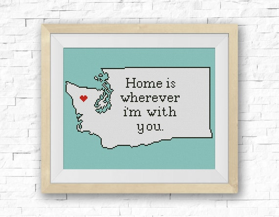 Cross Stitch Pattern, Washington Silhouette Map, BOGO FREE! Home Is  Wherever.., State Map Сounted Cross Stitch, PDF Instant Download #039 27  From StitchLine ...