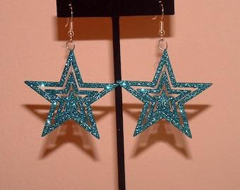 Christmas Blue Glitter Stars
