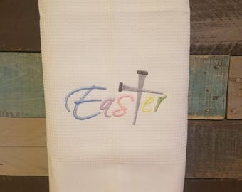 Easter Embroidered Waffle Weave Kitchen Towel