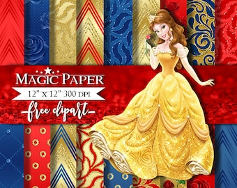Beauty and the Beast Digital Paper Clipart Clip Art