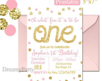 Pink and Gold First Birthday Invitation, Pink and Gold Invitation, Digital File, Printable 1st Birthday Invitation.