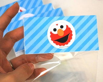 Elmo Treat Bags, Elmo Goodie bags ready for your party,  Bag Toppers  A789