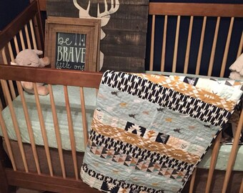 Baby Quilt | Handmade Crib Quilt Baby Boy | Ready to Ship Baby Shower  Woodland Nursery Crib Bedding Navy Deer Arrows Rustic Gender Neutral
