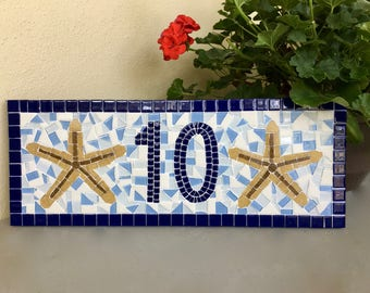 Blue Address Sign with Starfish, Nautical House Number Plaque, Beach House, Custom Gift