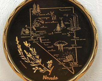 Nevada Souvenir State Tray Silver State Sagebrush Black Gold
