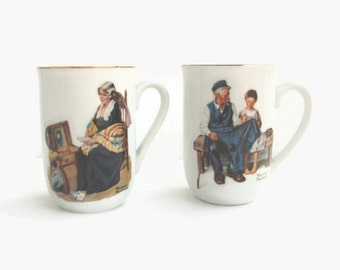 Two Vintage Norman Rockwell Coffee Mugs, Vintage Mugs, Coffee Mugs, Vintage