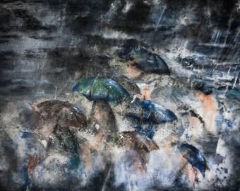 Encaustic Painting, Umbrellas Painting, Oil Painting, Mixed Media Art, Mixed Media Painting, Abstract Painting, OOAK, Fine Art