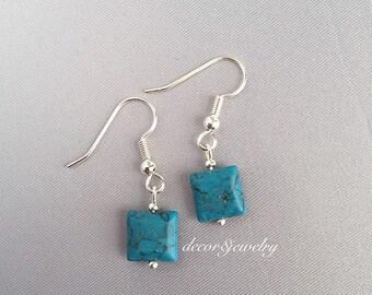 Turquoise Earrings - Square Turquoise Earrings - Small Turquoise Earrings - Turquoise Jewelry - Small Square Earrings