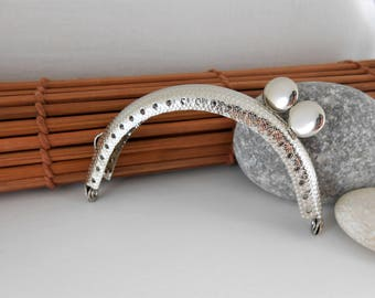 1 purse lock, 8.5x5 cm, silver, round