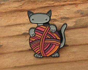 Cat and Yarn Gift -  Knitten Enamel Pin