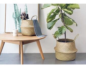 Buy 2 Get 1 Free - Large Planter Basket,Belly Basket,Seagrass Basket,Plant Holder,Home Decor, Laundry Basket, Hamper Toy Storage Organizer