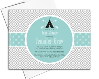 Gender neutral baby shower invitation, seafoam and gray baby shower invites with arrows, teepee and aztec print - PRINTED - WLP00702