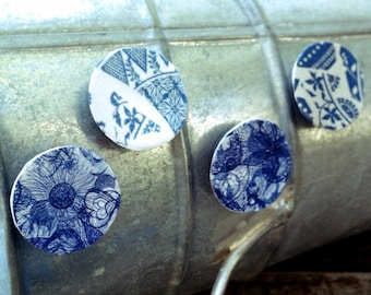 Magnets, Set of 4, Raised, Paper, Art, Decoupage, Modern, Graphic, Pattern, Sketch, Drawing, Flower, Blue, White, China