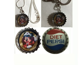 Old Diet Pepsi Soda bottle cap Mickey mouse Captain Keychain, Pendant, Necklace