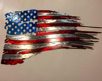 Tattered American Flag Metal Art