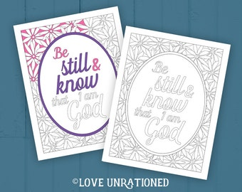 Bible Verse coloring page - adult coloring page, Be Still and Know, coloring page, Be Still, kids coloring page, Sunday school, VBS