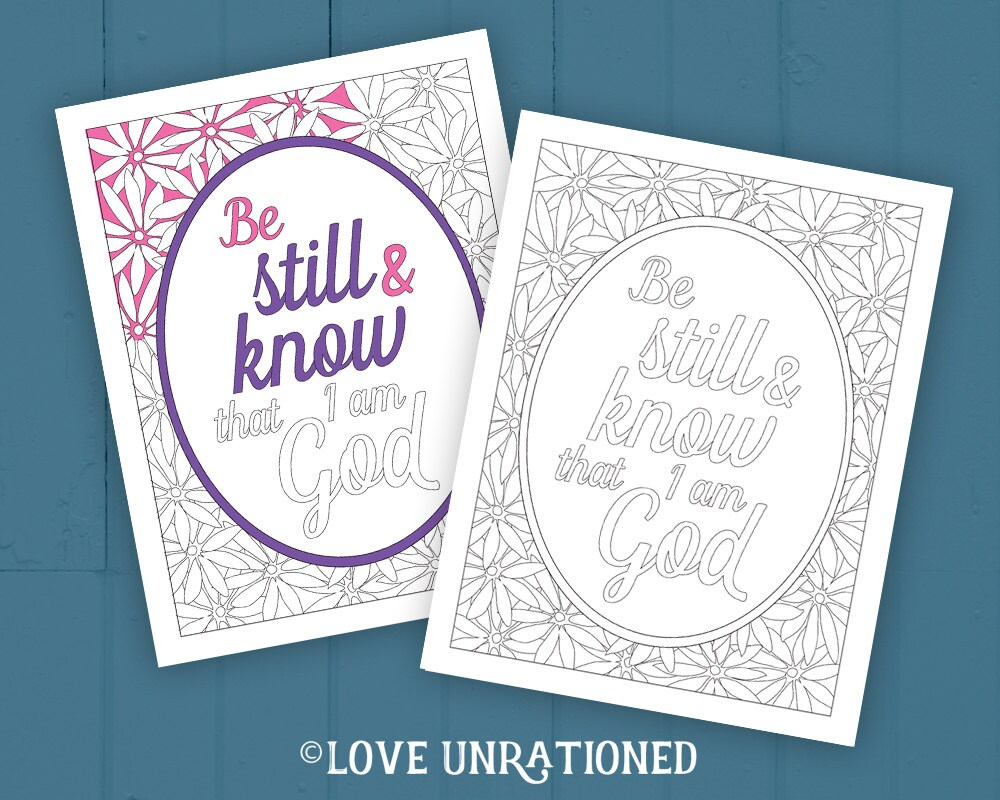 Bible Verse coloring page adult coloring page Be Still and