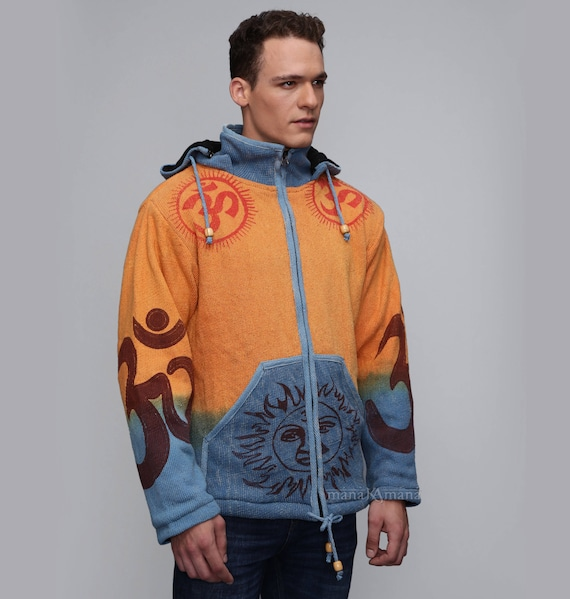 Men's Winter Jacket - Pixie jacket with removable hoodie - Very Warm Jacket - Burning man Kxx0C