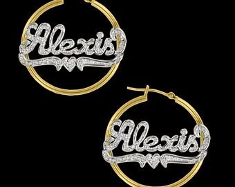 Name Hoop Earrings | Name Earrings | Custom Name Earrings | Mothers Day | Rhodium Plate