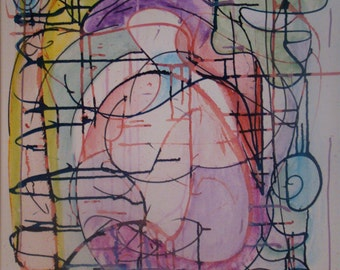"""Modern Painting of Feminine Divine in lavender, green, blue, pink, and yellow 24"""" x 20"""""""