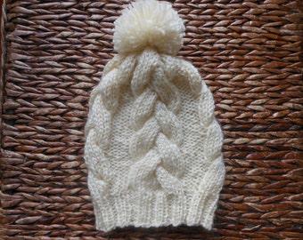 Cable Knit Slouchy Beanie Hat Acrylic Cream  With Pom Pom