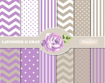 12 Digital Lavender and Gray Chevron Scrapbook Paper Pack for invites, card making, digital scrapbooking, wallpapers