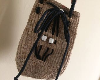 Beautiful Vintage Drawstring Bag made out of Sisal and Rope from Kenya, Africa