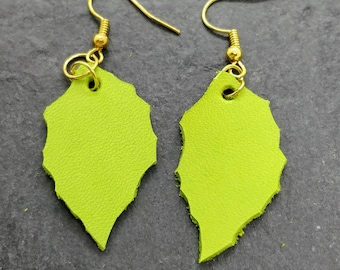 Leather, upcycled, earrings, Green, leaf, jewelry, dangle earrings, boho earrings, handmade, statement earrings, drop earrings, leaf earring