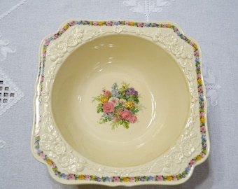 Vintage Crown Ducal Square Vegetable Bowl Charm Floral Pattern Gainsborough Made in England Replacement PanchosPorch