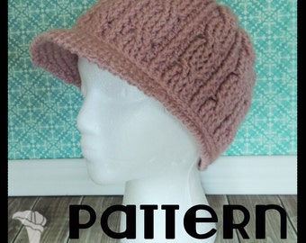 PATTERN - Cabled Crochet Hat with Brim