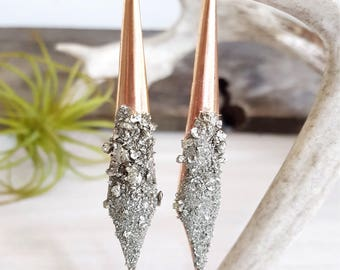 Rose Gold Earrings Statement Earrings Dagger Earrings Christmas Gift Pyrite Special Occasion Jewelry Sparkly Earrings Millennial Pink