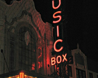 Chicago Photo, Music Box Theatre, Chicago Photography, Chicago Art, Wrigleyville, Chicago Art, vintage neon sign, movies, movie palace, film
