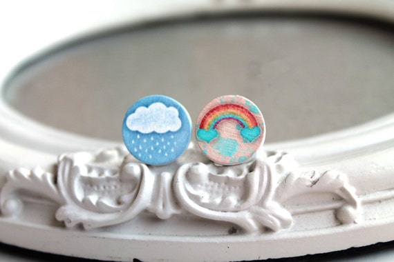Pretty rainbow and rain cloud wooden clip earrings  sweet lolita feminine