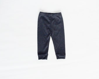 Solid Grey (gray) cotton knit stretch spandex leggings / pants for baby or toddler boy or girl