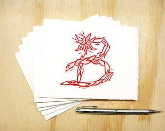 Letter B Stationery - Personalized Gift - Set of 6 Block Printed Cards