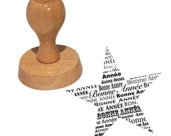 Wooden happy new year star stamp