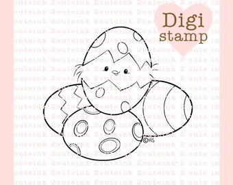 Easter Egg Chickie Digital Stamp for Card Making, Paper Crafts, Scrapbooking, Hand Embroidery, Invitations, Stickers, Cookie Decorating